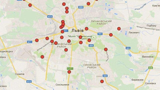 Львівська міськрада оприлюднила карту скандальних забудов