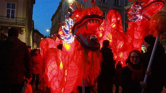 У центрі Львова зустріли китайський Новий рік