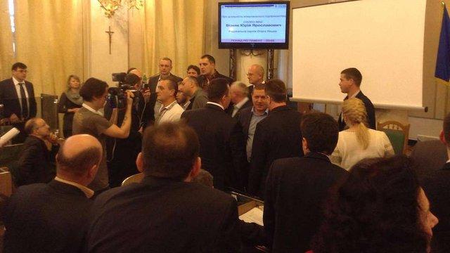 «Свобода» влаштувала штовханину під час сесії Львівської облради