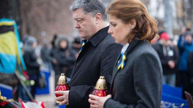 Президентське подружжя вшанувало пам'ять Героїв Небесної Сотні