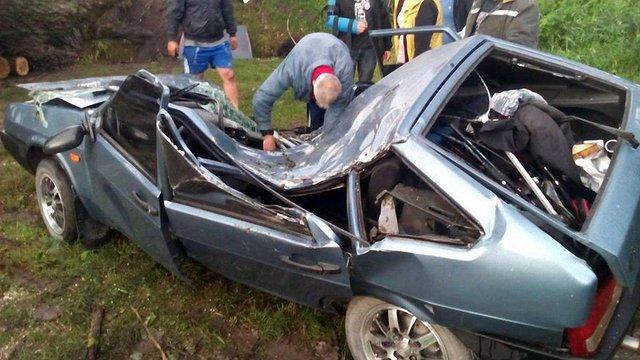 У Золочеві рятувальники вивільнили чоловіка з авто, на яке впало дерево