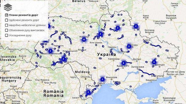 Запрацювала інтерактивна карта ремонту доріг «Укравтодору»