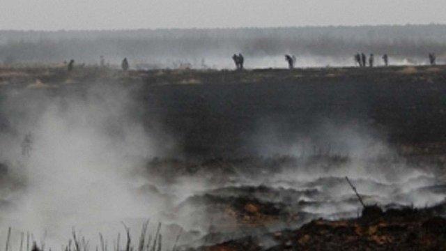 На Львівщині третій день гасять пожежу на торфовищі
