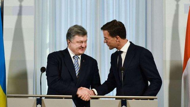 Порошенко і Рютте  скоординували позиції щодо ратифікації Угоди про асоціацію Україна-ЄС