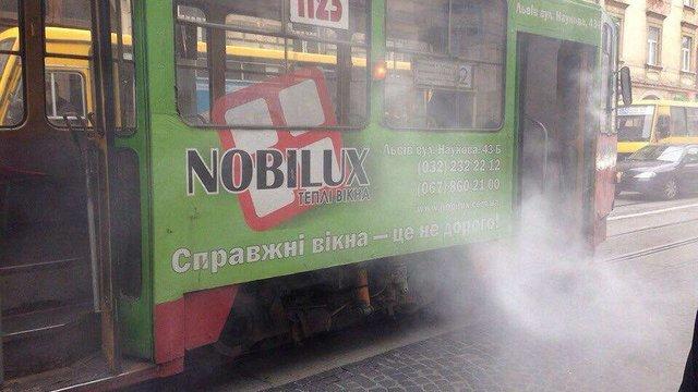 У центрі Львова горів трамвай