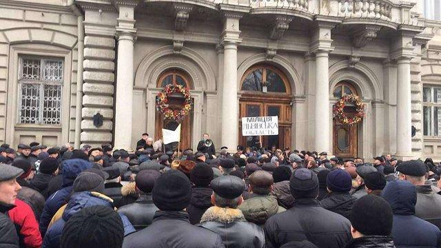 Колишні міліціонери біля Львівської ОДА вимагали підвищити їм пенсії