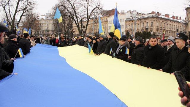 У День Соборності у центрі Львова розгорнули великий прапор України