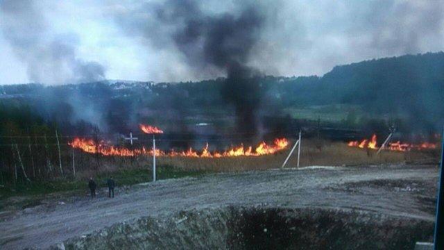 За 500 м до Грибовицького сміттєзвалища виникла масштабна пожежа