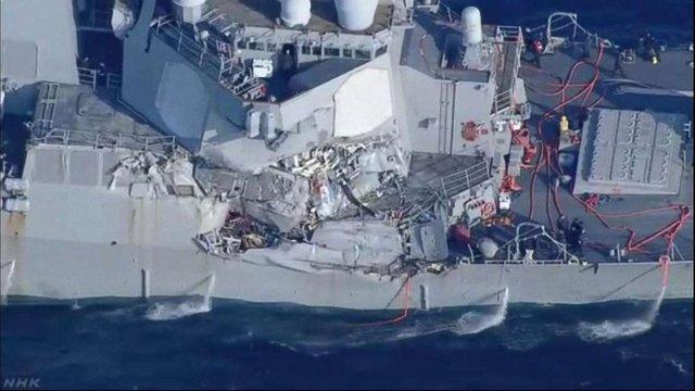 Зниклих моряків з есмінця США знайшли мертвими у підтопленій частині корабля