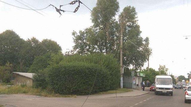 На вул. Зеленій вантажівка обірвала тролейбусні дроти