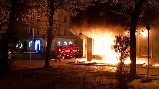 У Львові вщент згоріло відділення російського «Сбербанку»
