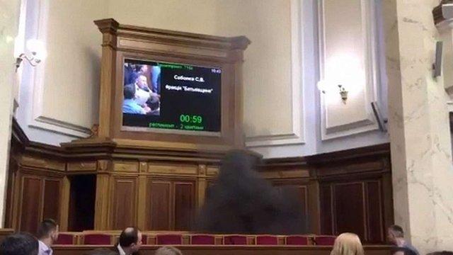Нардеп Юрій Левченко запалив димову шашку у залі Верховної Ради
