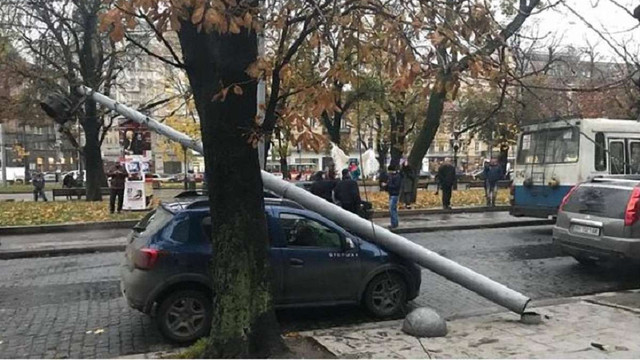 У центрі Львова на припарковане авто впала електроопора
