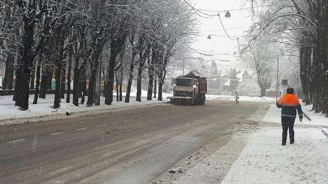 Через сильний снігопад у Львові всю ніч працюватимуть піскосії, трактори та грейдери