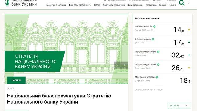 Нацбанк запустив бета-версію нового інтерактивного сайту