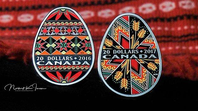 У Канаді випустили третю монету у формі української писанки