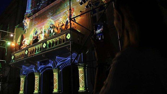 На фасаді львівського театру Курбаса показали відеомапінг