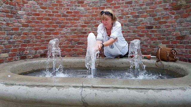 У Львові провели пробний запуск фонтана на вул. Коперника