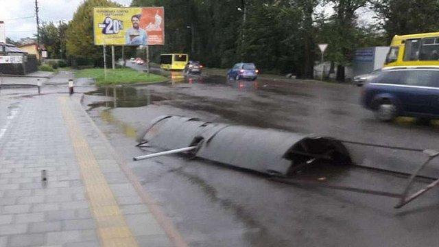 Штормовий вітер повалив кілька дерев у Львові та пошкодив конструкції на двох зупинках