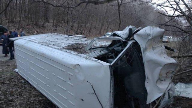 Біля Нового Роздолу мікроавтобус перекинувся у кювет, травмувався водій