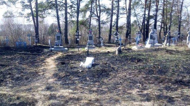 На Львівщині селяни під час толоки випадково спалили частину кладовища