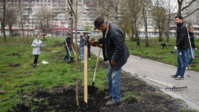 Під час толоки у парках Львова висадили понад сотню дерев та кущів