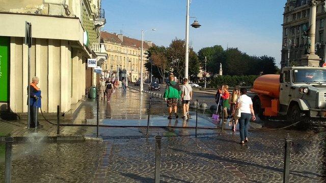 Через спеку комунальники митимуть у Львові тротуари