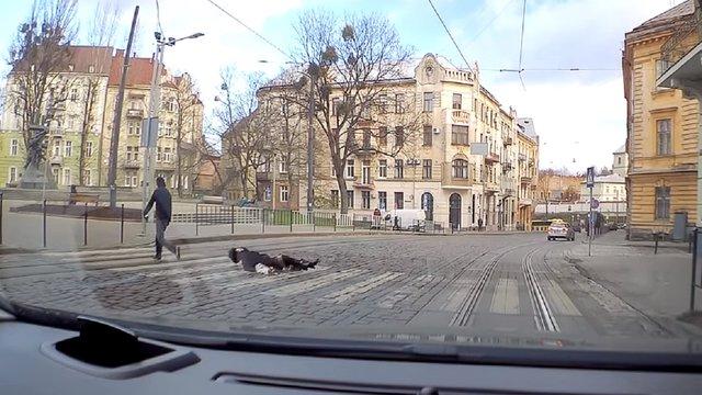 Посеред дня у Львові неадекватний чоловік вдарив в голову перехожу жінку