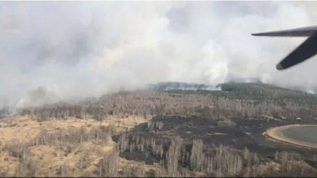 Пожежа сухостою в Чорнобильській зоні охопила майже 100 гектарів