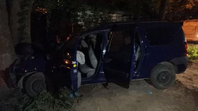 У Львові п'яний водій намагався втекти від патрульних та в'їхав у дерево
