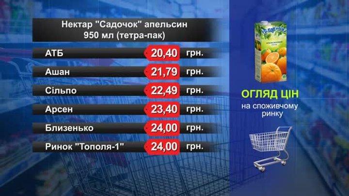 Нектар «Садочок» апельсин. Огляд цін у львівських супермаркетах за 19 квітня