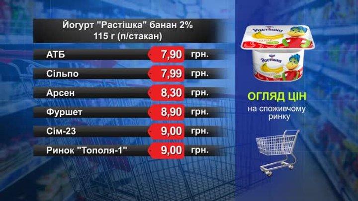Йогурт «Растішка» банановий. Огляд цін у львівських супермаркетах за 15 травня