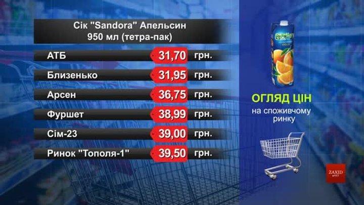 Нектар Sandora апельсин. Огляд цін у львівських супермаркетах за 24 лютого